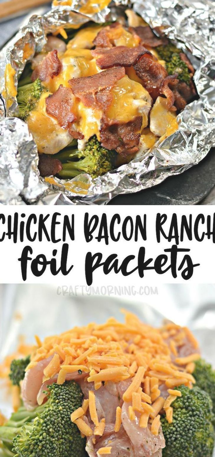 Make some chicken bacon ranch foil packets! These are so easy and fast to make for a dinner idea. Chicken breasts, bacon, cheese, and brocolli yum!! Easy dinner idea for kids and families. Aluminum foil dinner meal. #chickenrecipes #chicken #bacon #baconrecipes #foilpackets #chickenranchrecipes #chickenbaconrecipes #craftymorning