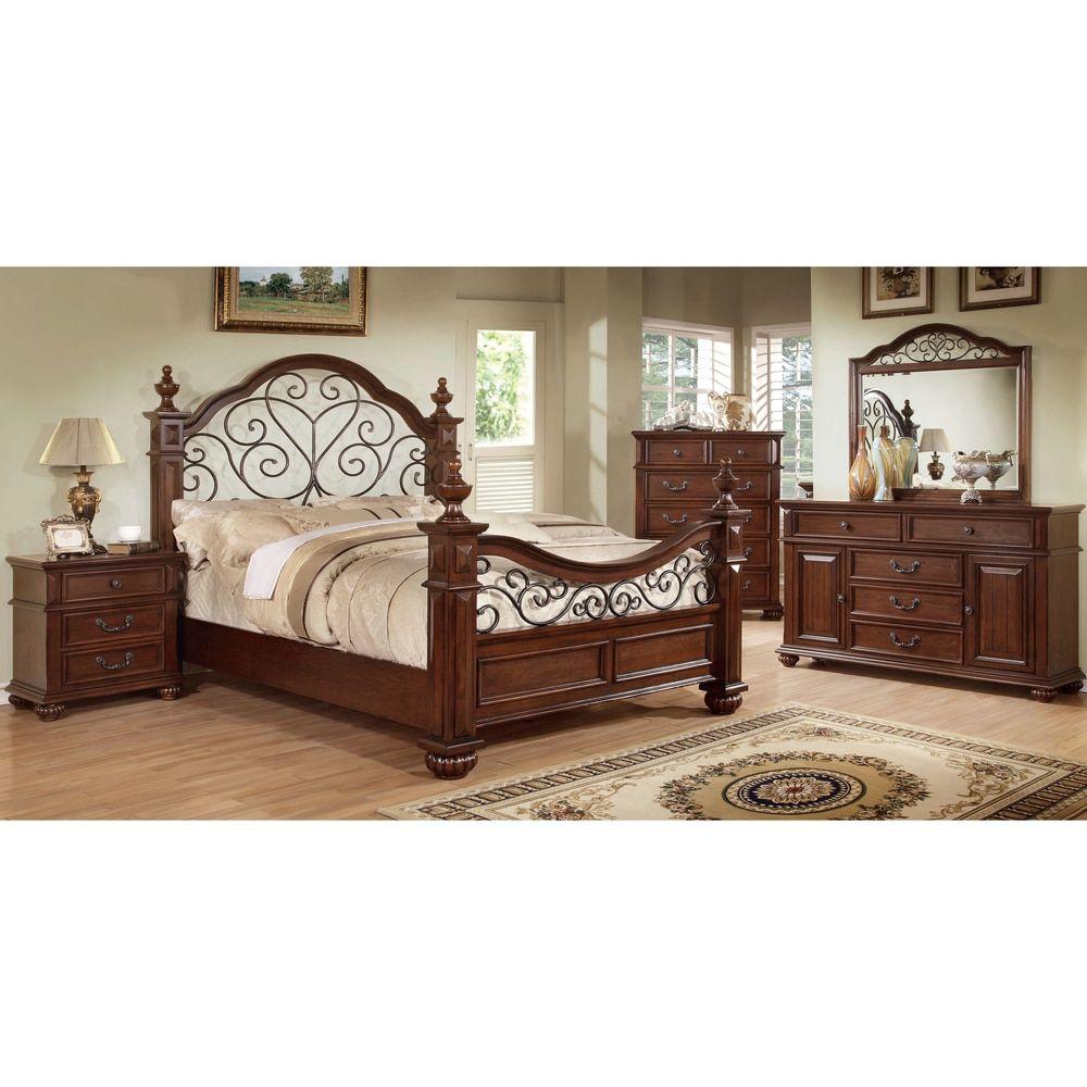 Furniture Of America Sumy Traditional Oak 4 Piece Bedroom Set Spalnya Iz Duba Nabory Mebeli Dlya Spalni I Spalnye Garnitury