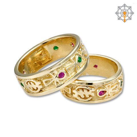 Gye Nyame And Ankh Wedding Bands