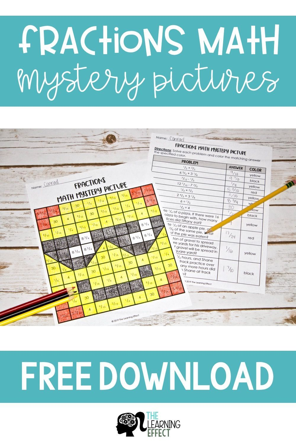 medium resolution of FREE Fractions Math Mystery Picture - Practice adding