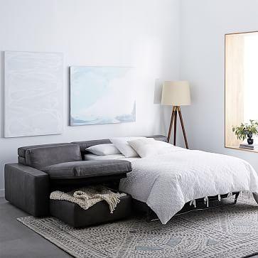 Enzo Leather Full Sleep Store 3 Seater Sectional Sleeper