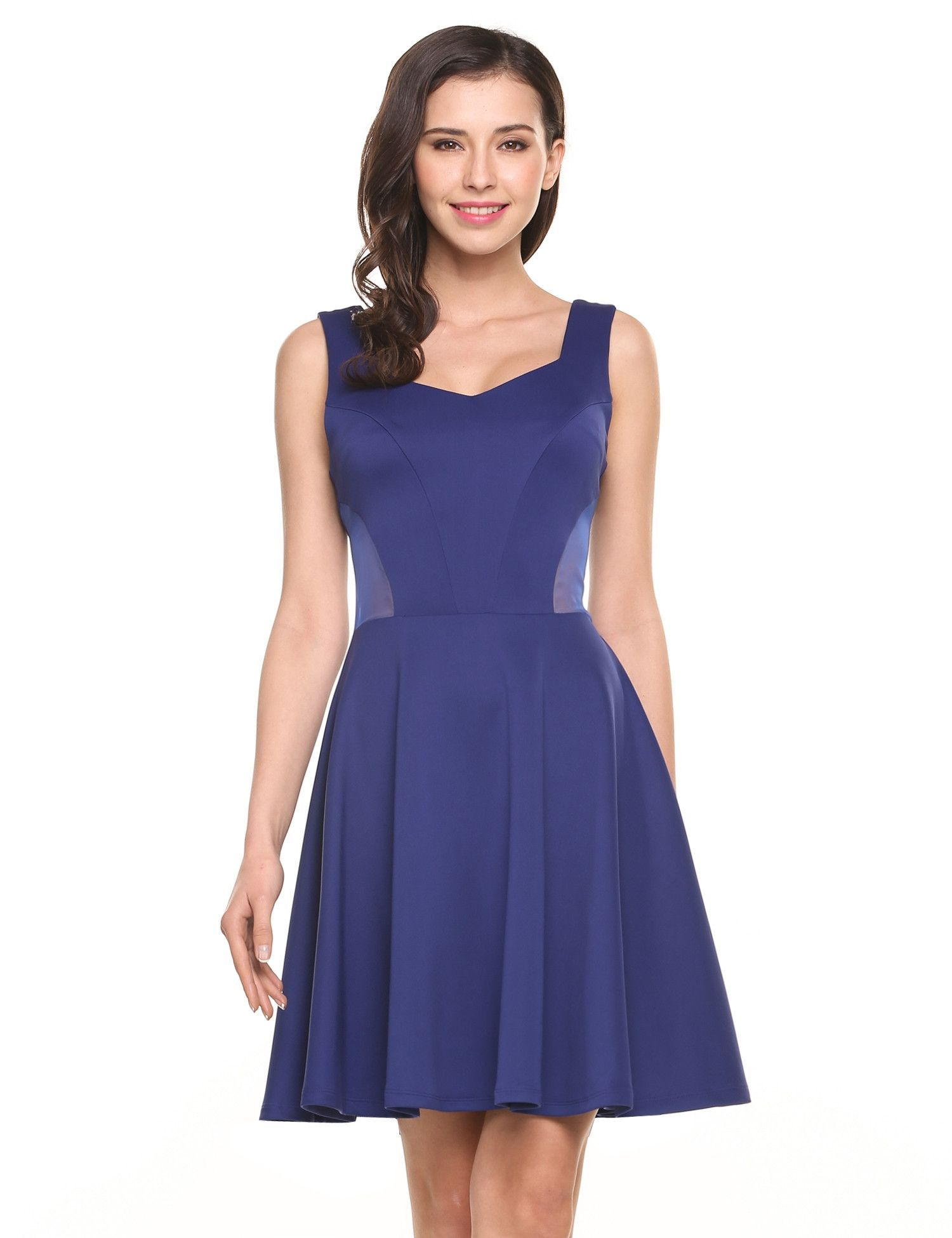 Navy blue Sleeveless Waist See-through A-Line Pleated Hem Elastic ...