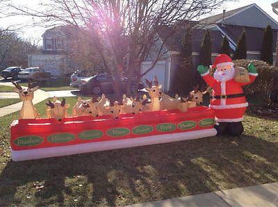 16u0027+Gemmy+Airblown+Inflatable+Prototype+Santa+Feeding+Reindeer