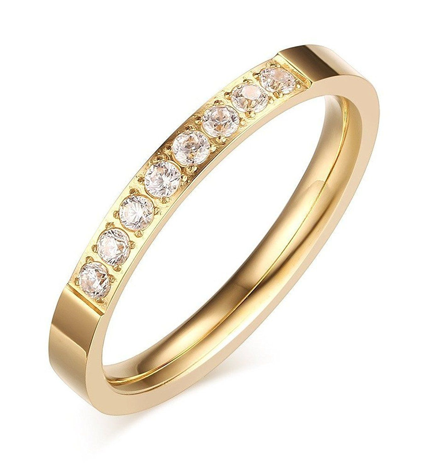 Women's 3MM 18K Gold Plated Stainless Steel Thin Prong