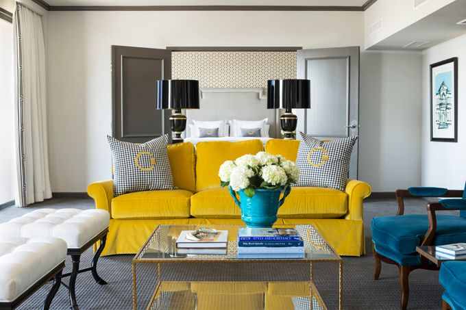 Incredible Peacock Blue And Yellow Living Room With Creamy White Walls  Paired With Charcoal Gray Crown