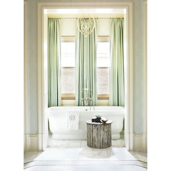 Mint Green Curtains   Traditional   Bathroom   Traditional Home ❤ Liked On  Polyvore Featuring Home