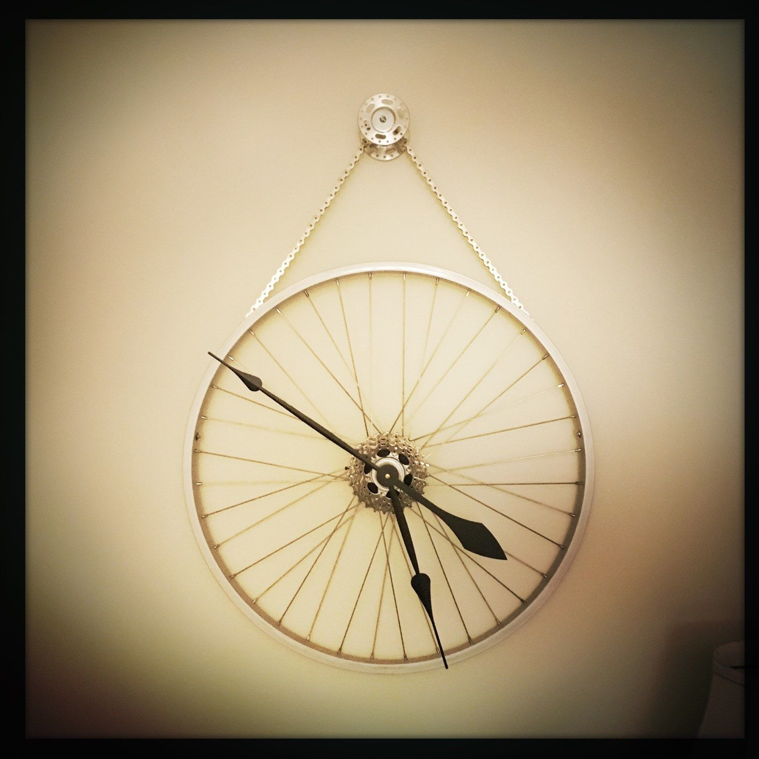 Bike wheel clock oversized wall clock industrial decor unique bike wheel clock oversized wall clock industrial decor unique wedding gift idea steampunk wall clock bicycle gift for men amipublicfo Images