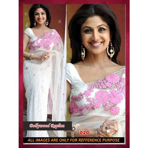 Wedding White Sarees Online: Bollywood Replica Shilpa Shetty White Chiffon Saree