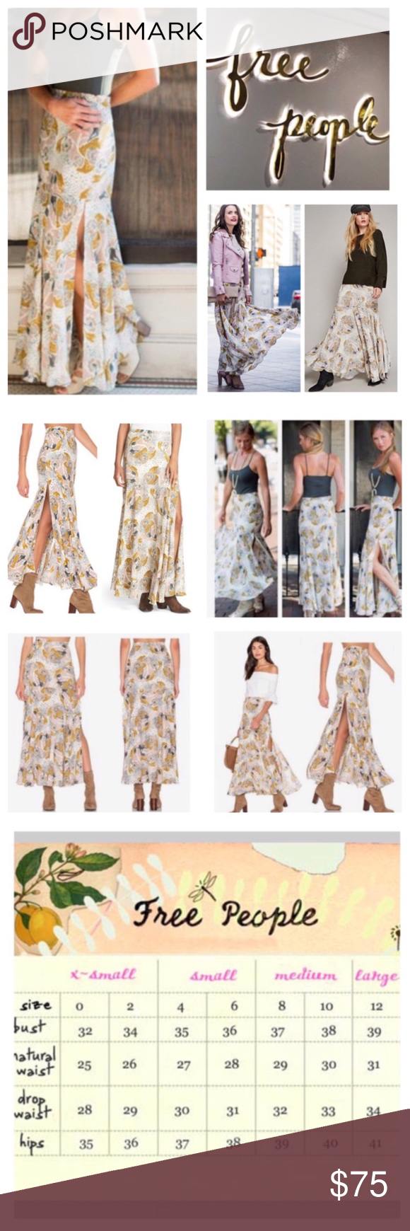 6a324c99ab 🆕Free People Pebble Fate Floral Maxi Skirt. NWOT. 🆕Free People Pebble Fate