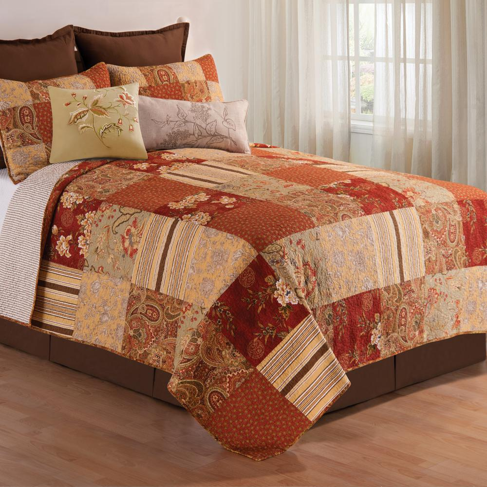 Burgundy KING Creme Brown Lots of Choices -VHC QUILT Farmhouse Tacoma
