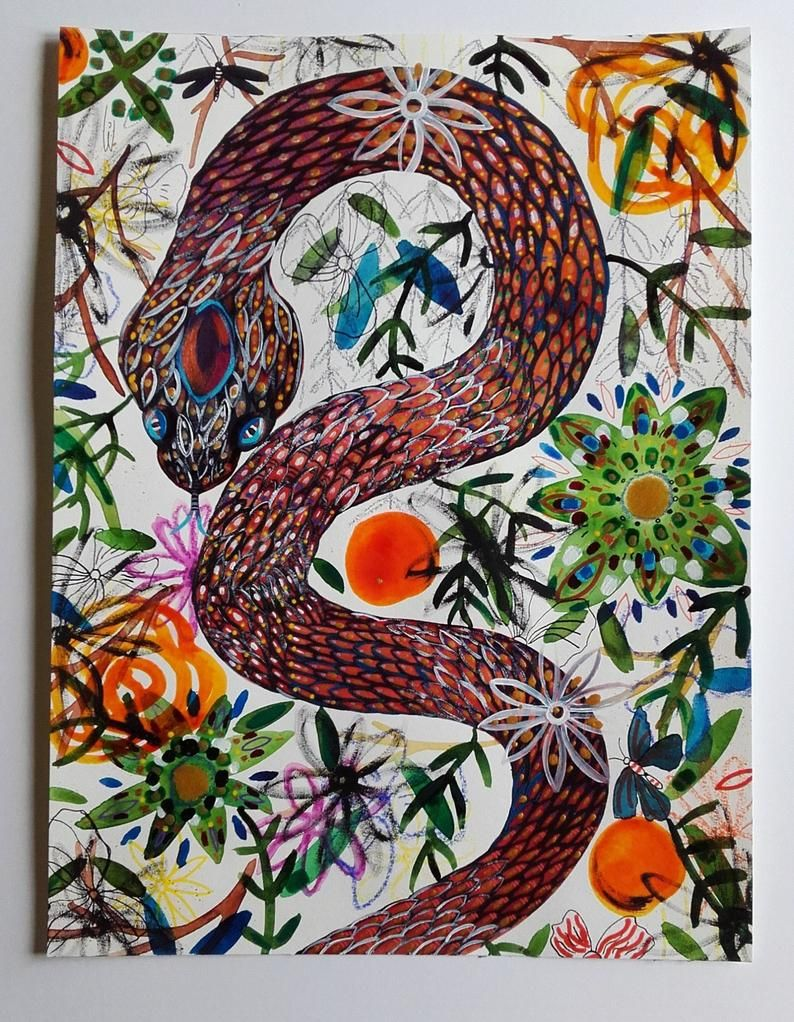 ORIGINAL ART Snake Art Insect and Reptile Art Original Colored Pencil Watercolor Art Woodland Art