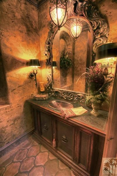 Old World Tuscan Style Bathrooms Mediterranean Traditional An