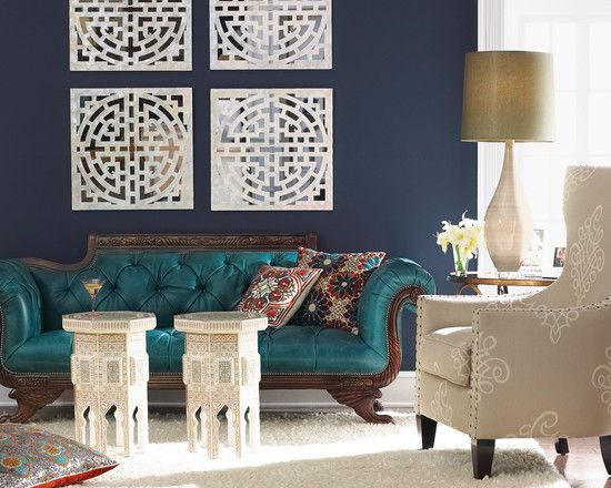 Love This Global And Inviting Navy Blue Living Room