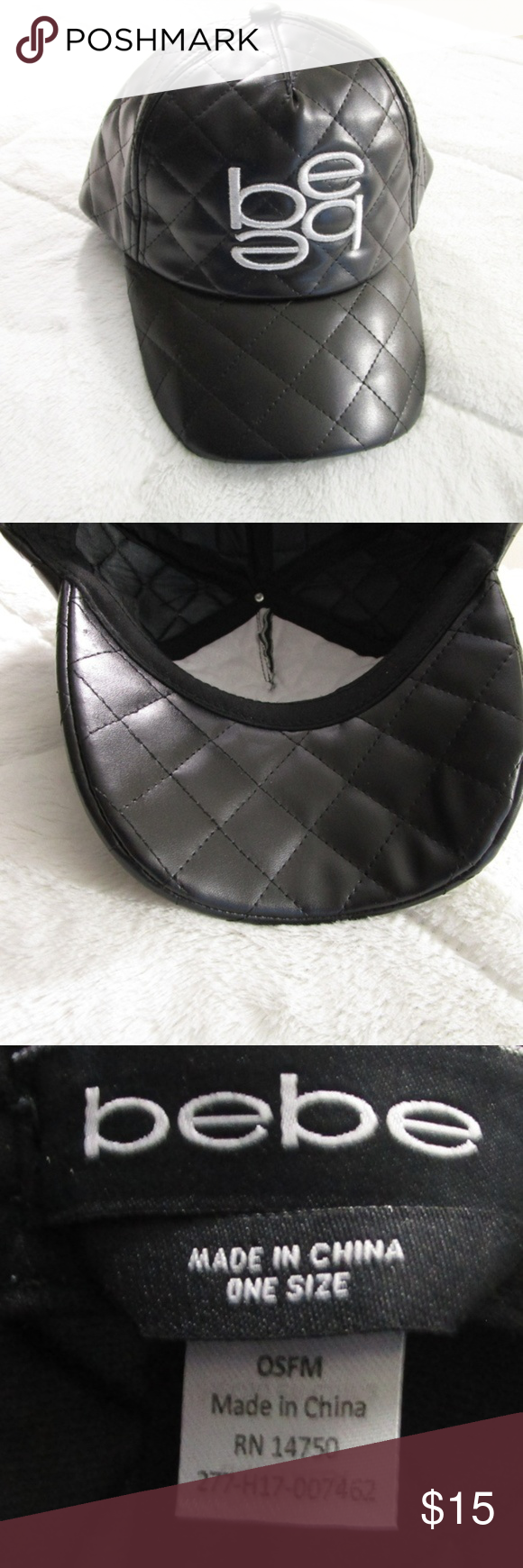 Bebe Black Faux Leather Baseball Cap wSilver Logo NWT