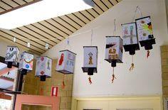 chinese lanterns with pattern create cardboard inner structure, add tassels