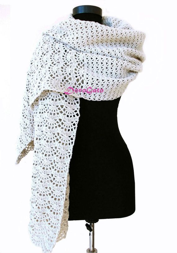 Crochet shawl pattern, stole pattern, woman rectangle shawl, Crochet ...