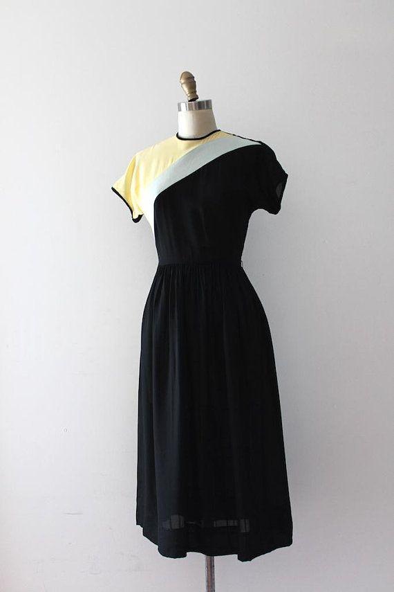 Vintage 1940s Color Block Swag Dress: Vintage 1940s Color Block Dress // 40s Doris Dodson Rayon
