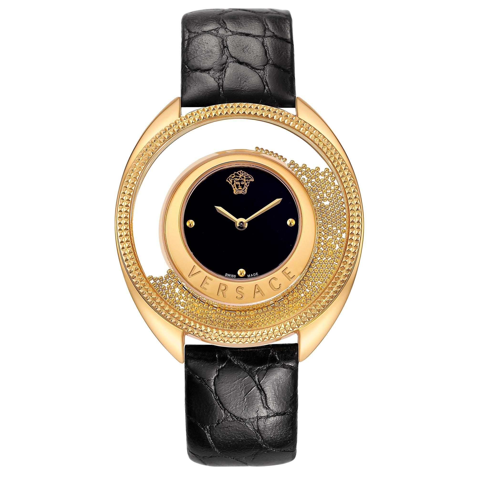 b2f0dce2d3 Versace Watch, Destiny Spirit, Golden Case, Black Dial, Black Calf ...