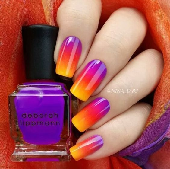 Ombre purple red orange yellow Nails Pinterest Ombre and Manicure