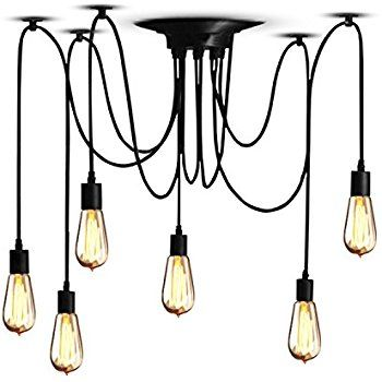 Hardwired Edison Industrial Loft Chandelier Vintage Lamp Spider Ceiling Light