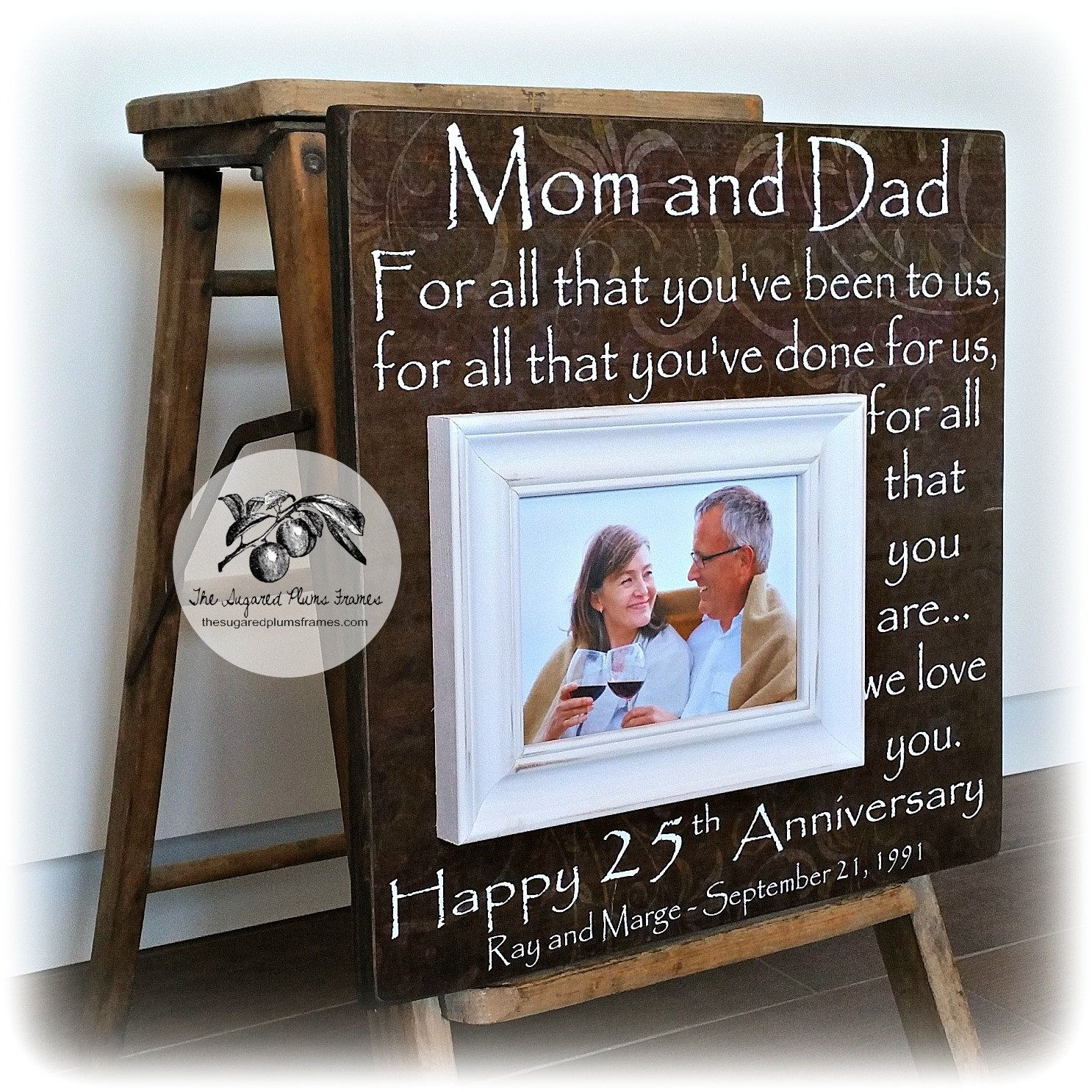 Ideas For 25th Wedding Anniversary Gift: 25th Anniversary Gifts For Parents, Silver Anniversary