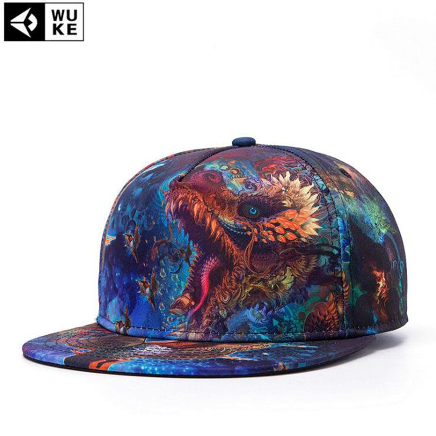 f34d611a32a WuKe 2017 Dad Hat Flat Along Cap Women Hip-hop Cap Male 3D Printing Cap  Female Branded Baseball Caps Men Snapback  Affiliate