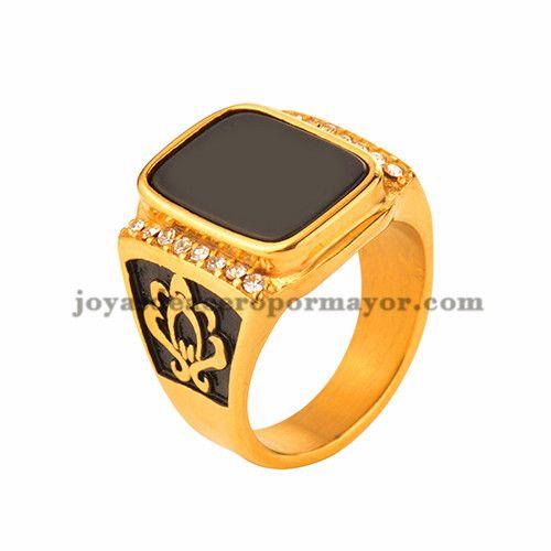 dd0e0189405a anillo de piedra negra en acero dorado inoxidable para caballero  -SSRGG371599