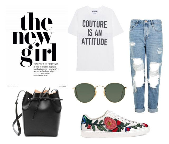 """Sem título #35"" by luizassouza on Polyvore featuring moda, Moschino, Topshop, Gucci, Mansur Gavriel e Ray-Ban"