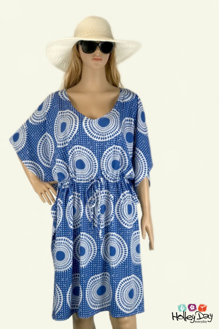 28a927a744 Summer Beach Kaftan Dress | Blue and White Spotted Geometric Design |  #holleyday2day #blue #white #kaftan #beachkaftan #beachcoverup #beachwear  ...