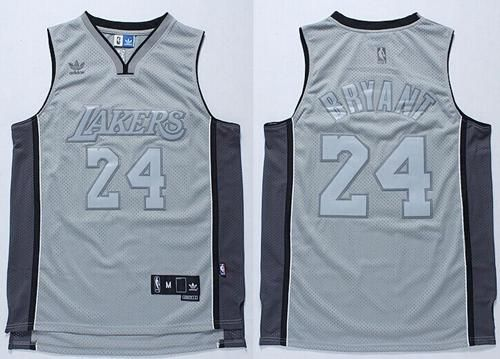 db986e3f926 nba jerseys los angeles lakers 24 kobe bryant grey anniversary style ...