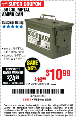 50 Cal Metal Ammo Can For 10 99 In 2020 Ammo Cans Harbor Freight Tools Ammo