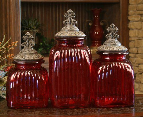 RED DECORATIVE GLASS CANISTER SET WITH CROSS LIDS (SET OF ...