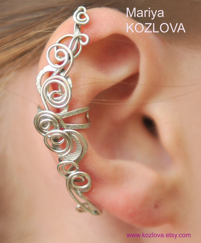 No piercing cartilage cuff silver fairy swirlsconch cufffake silver fairy curls of magic ear cuff silver color tarnish resistant wire 2600 baditri Choice Image