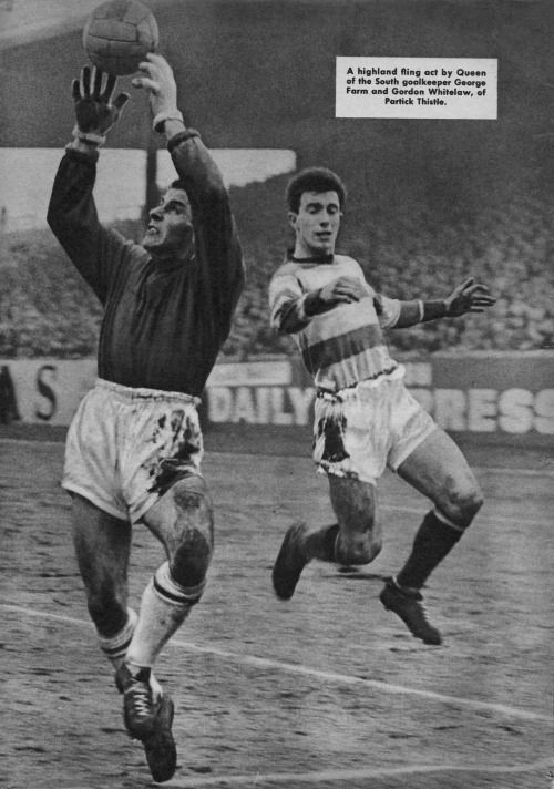f95b4f734 From Charles Buchan s Football Monthly May 1963. George Farm Queen of the  South makes save against Gordon Whitelaw