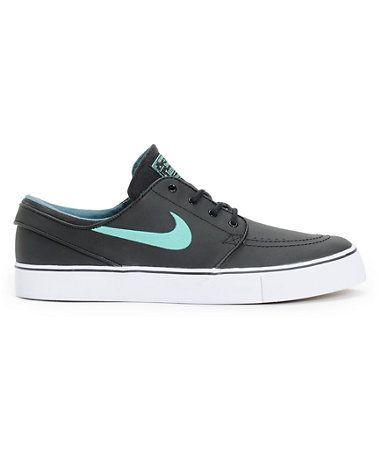 Nike SB Zoom Stefan Janoski Black, Crystal Mint, & Night Factor Leather Shoe  (