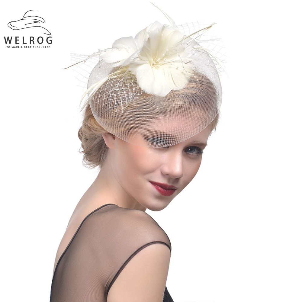 48b921c1 WELROG Feather Cap Lady Cocktail Dinner Party Fedoras Wedding Bridal Mesh  Veil Hats Vintage Sombreros Chapeau
