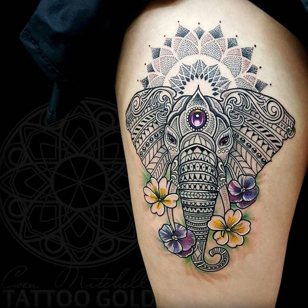 22 Mandala Tattoo Designs Ideas: Tattoos, Colorful Elephant Tattoo