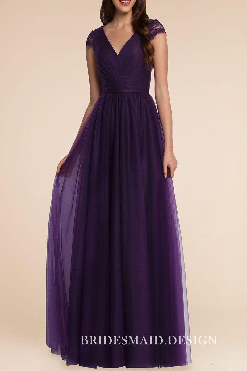 Pretty royal purple chiffon A-line long bridesmaid dress with cap sleeves.  V neckline 972fd20d6