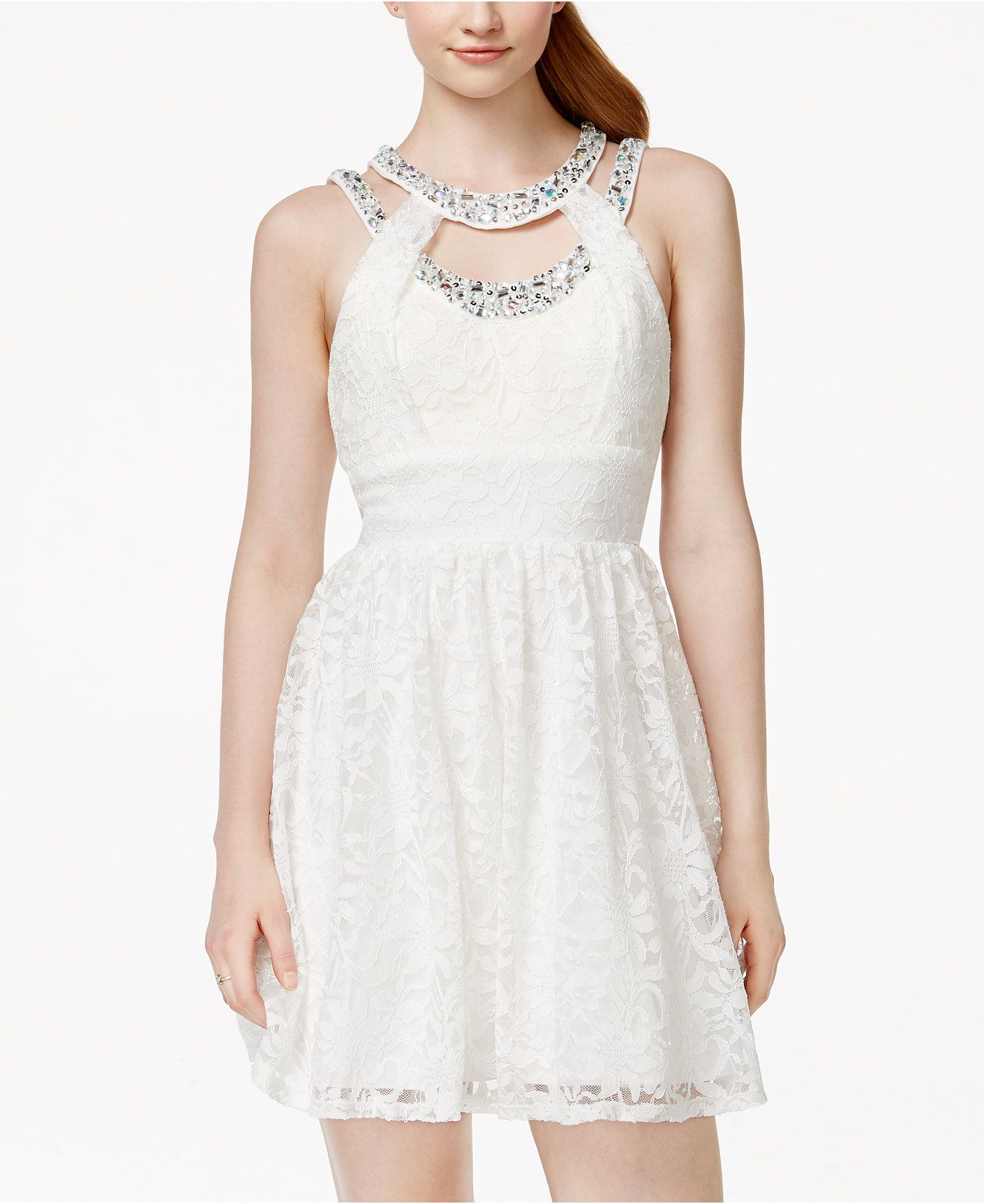 a1950aef61469 Trixxi Juniors' Embellished Lace Fit-and-Flare Dress - Juniors Shop All  Prom Dresses - Macy's