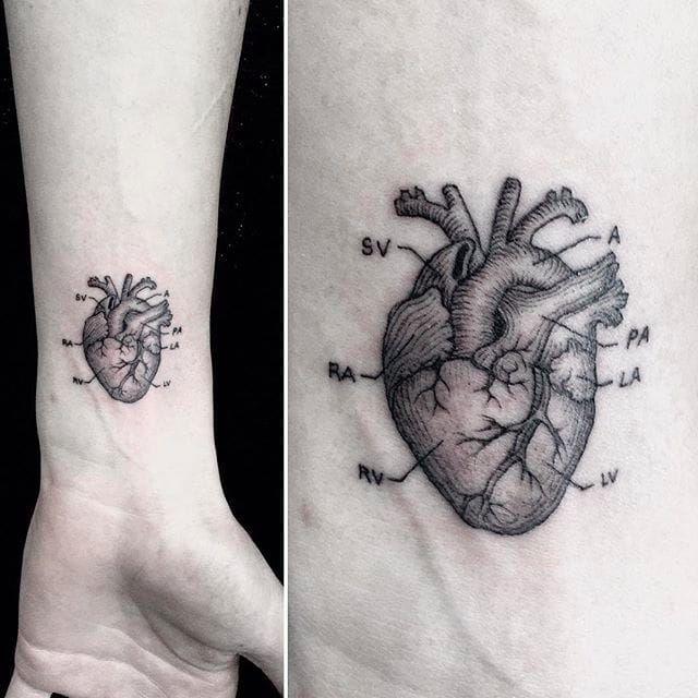 Teeny-Tiny Black & Grey Micro Tattoos | Anatomical tattoos ...
