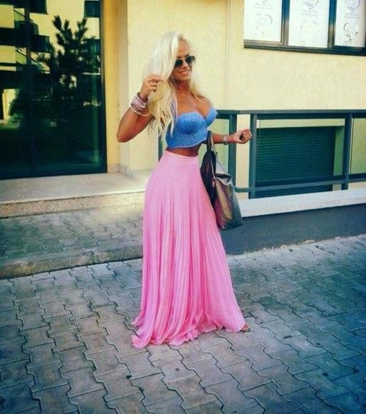 Summer Skirt Outfits Pink Pretty Spring Cute Girly Tumblr Fashion Beautiful Maxi Outfit
