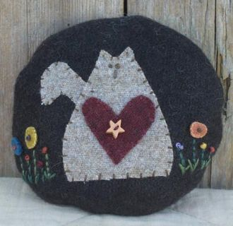 Abagail Cat Wool Pincushion by The Little Red Hen