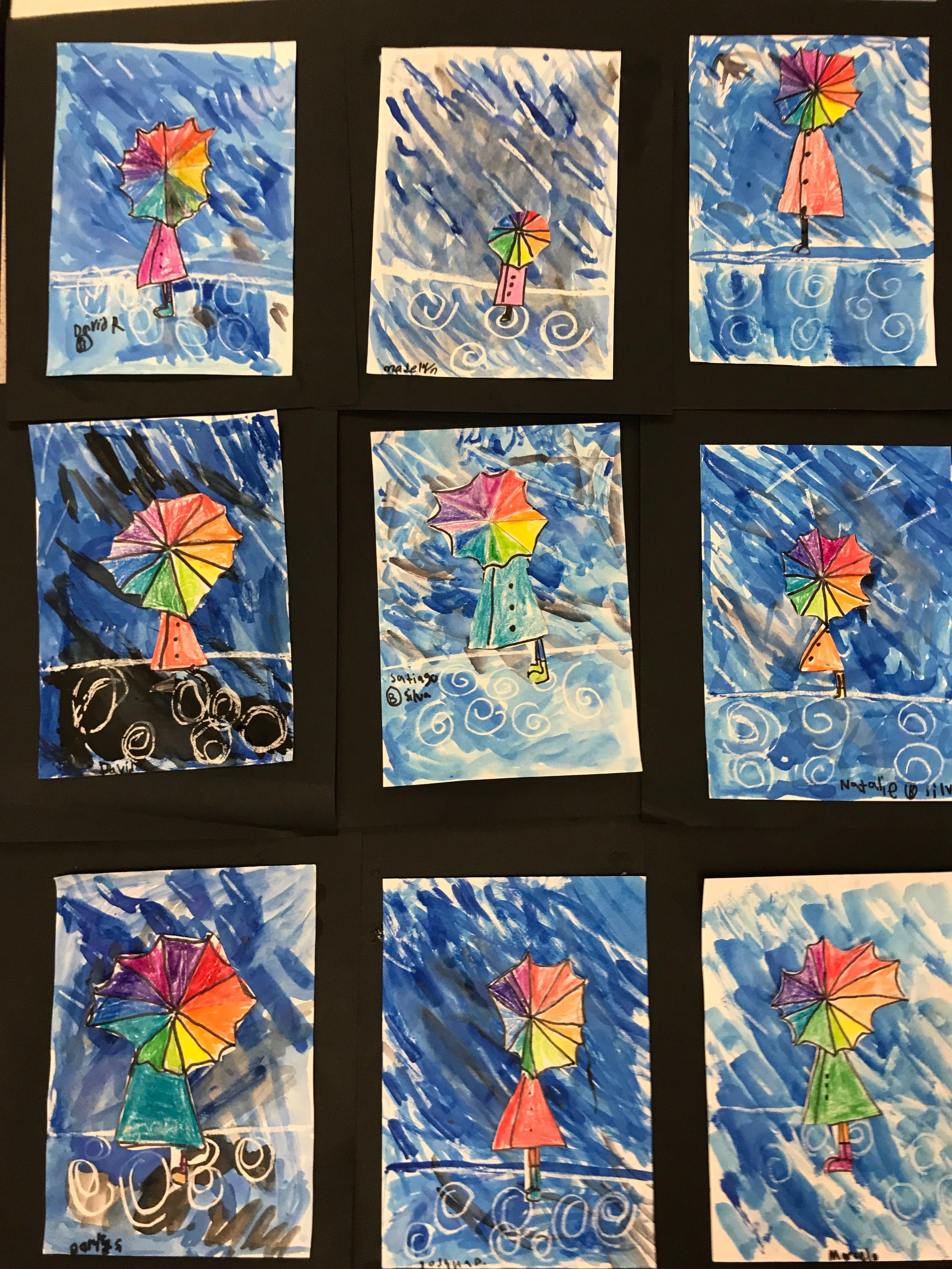 2nd Grade Wax Resist Color Wheel Umbrella   Mrs. Clemetson\'s Art ...
