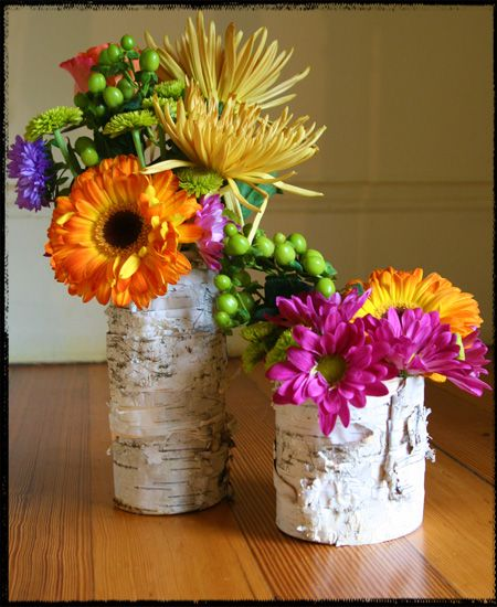 Birch Vases From Old Frosting Containers You Can Also Use Cans Nice And Short Creative Centerpieces Birch Bark Crafts Floral Shop