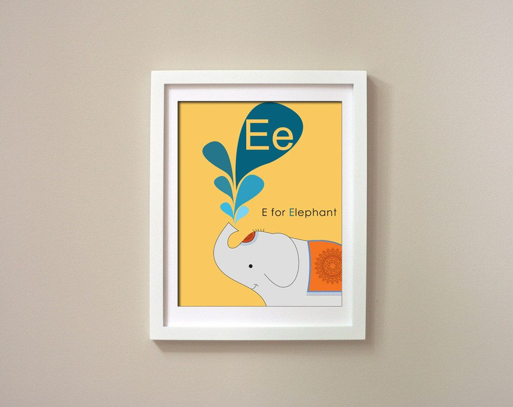 Printable Alphabet Art - E for Elephant - childrens room poster ...