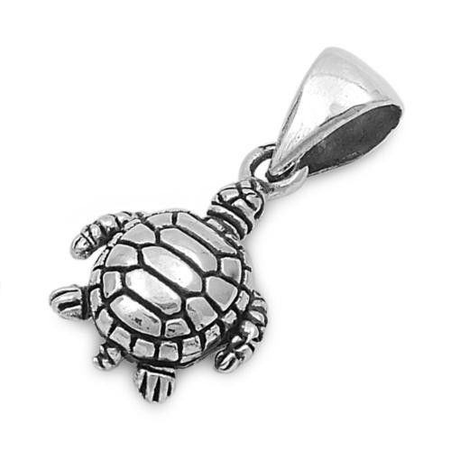 "Sterling Silver Sea Turtle Pendant 14MM (Free 18"" Chain)"