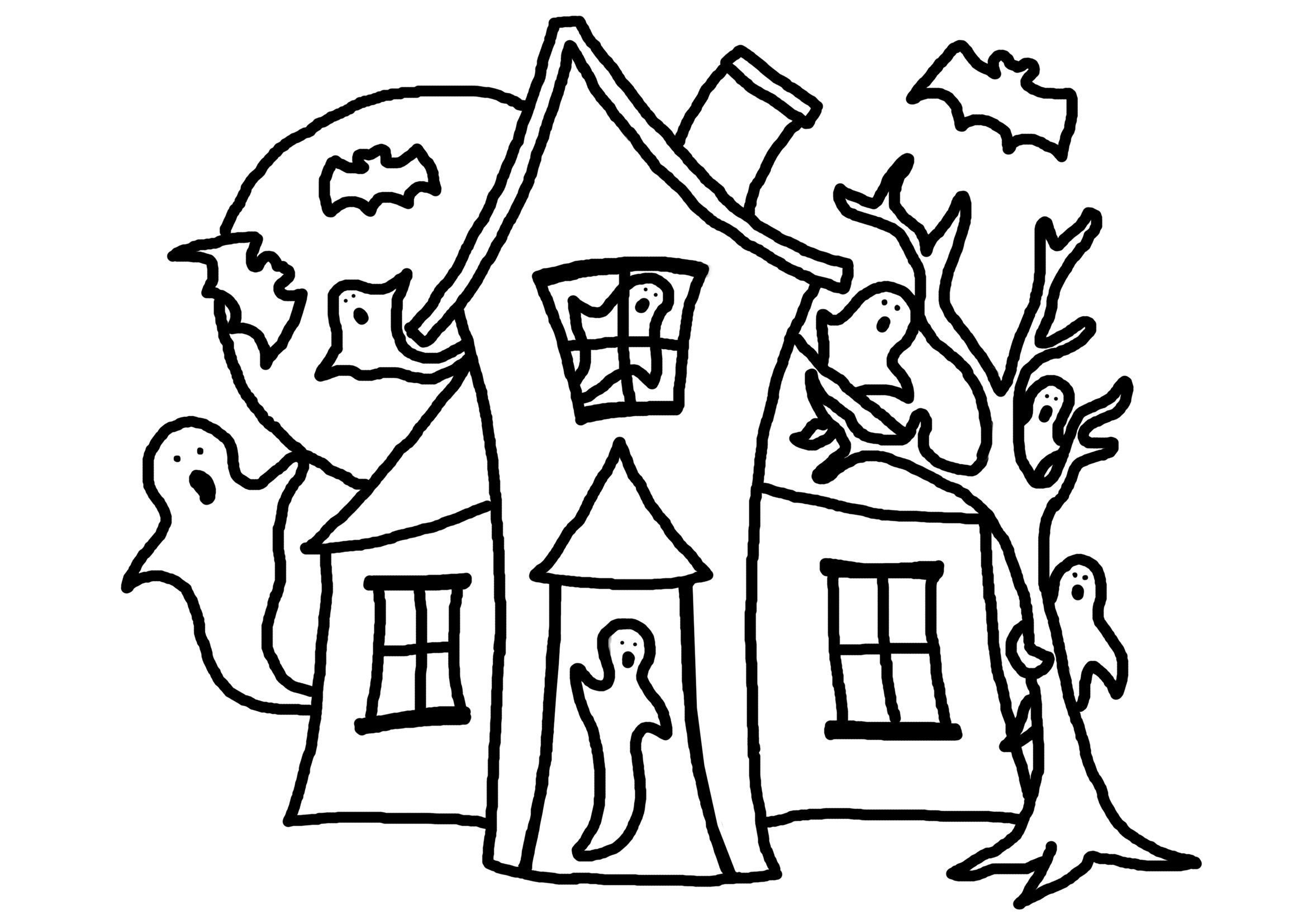Haunted House Moon Tree Ghost Halloween Coloring Free Halloween Coloring Pages Pumpkin Coloring Pages