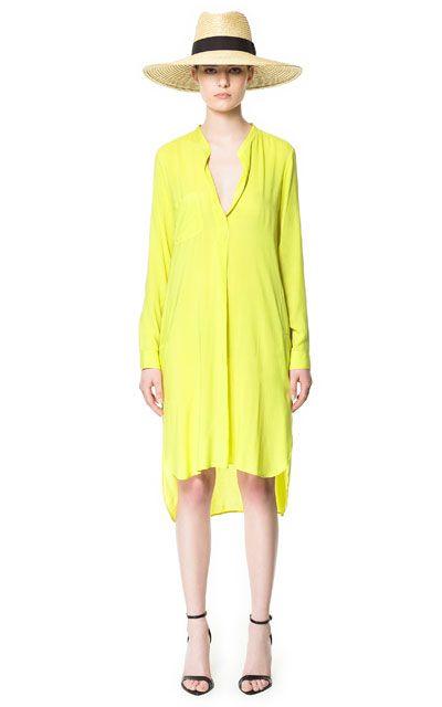 Yellow LONG ASYMMETRIC TUNIC from Zara