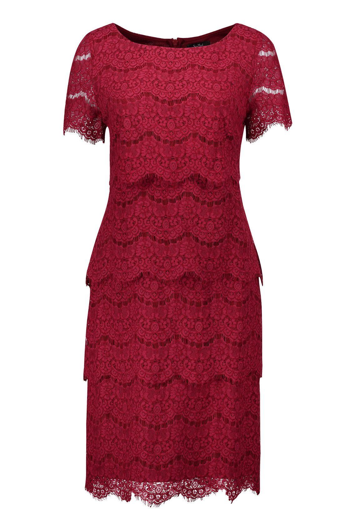 Spitzenkleid mit kurzem Ärmel Rot Vera Mont  Mode Bösckens