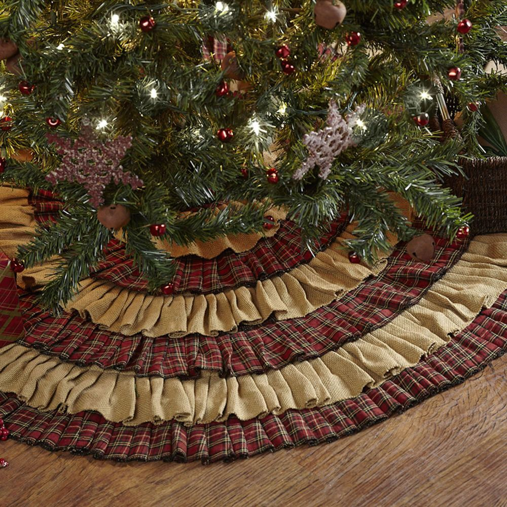 Large Christmas Tree Skirt Primitive Plaid Burlap Holiday Country Decoration 48""